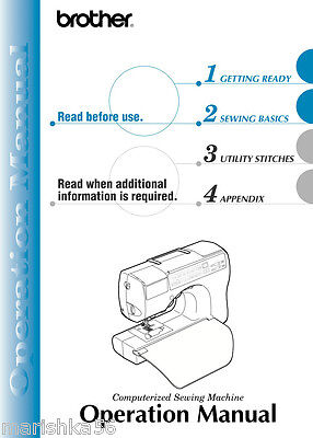 BROTHER CS 80 SEWING MACHINE Instruction Manual/ Users Guide in color on CD Brother Sewing Machine User Manual