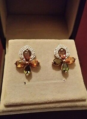 Were £125  9ct gold Authentic multi tourmaline & diamond earrings. Immaculate.