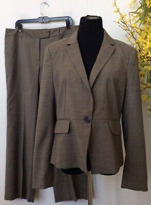 Ann Taylor Women's Career Beige Polyester Blend 2 Piece Pant Suit Size 12 EUC.