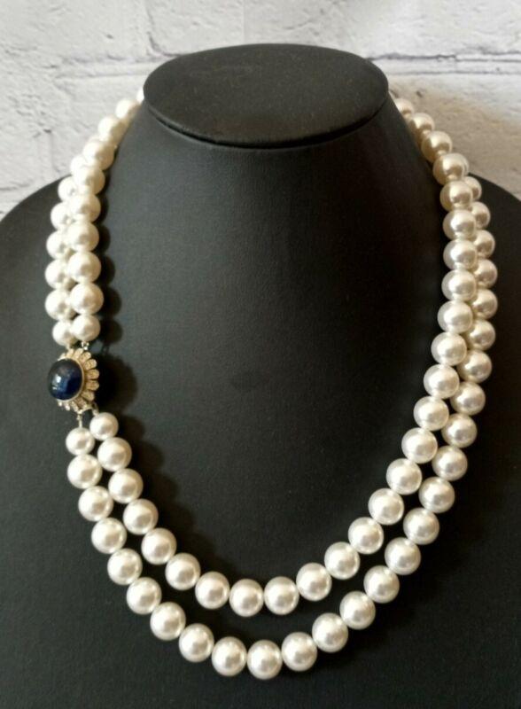 Vintage Double Strand Faux Pearl Necklace Sapphire Blue Cabochon Closure