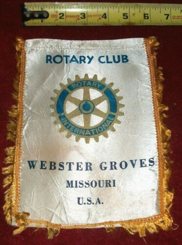 VINTAGE Rotary International Club wall banner flag     WEBSTER GROVES