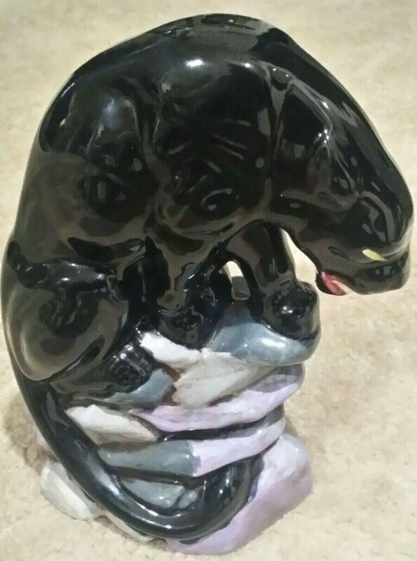 Black Panther Ceramic Black Glaze Statue Prowler on Rock Mid Century