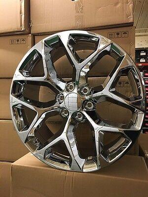 "4 NEW 2015 GMC Sierra Wheels 24x10 Chrome OE 24"" Silverado Denali Yukon Tahoe"