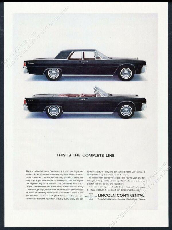 1963 Lincoln Continental convertbile & hardtop 2 black car pic vintage print ad