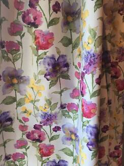 Pencil Pleat Floral Fabric Curtains