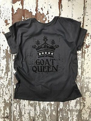 Glitz BLING Sparkle Goat MOM Queen Tee Ladies CUT t-shirt CRAZY GOAT LADY