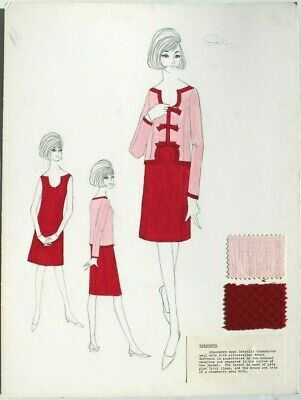 Vtg 1963 Retro MCM Fashion Designer Presentation (Mood) Sketch Board (4 of 40) (Fashion Designer Sketches)