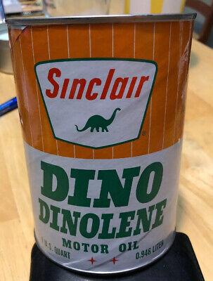 Vintage Sinclair Dino Dinolene Motor Oil Can Cardboard EMPTY Quart Dinosaur Ex