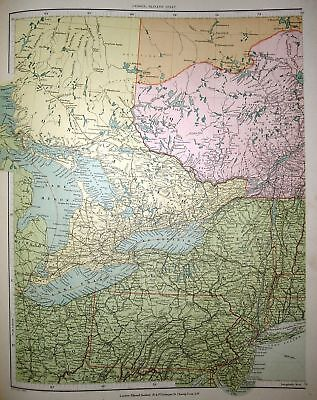 STANFORD'S 1892 MAP OF CANADA ~ GREAT LAKES (WESTERN)
