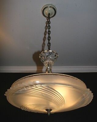 Antique authentic original 40s Art Deco light fixture ceiling chandelier glass