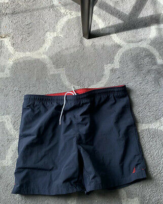 Nautica Men's Swim Trunks Suit Board Shorts Medium Navy Series Vintage