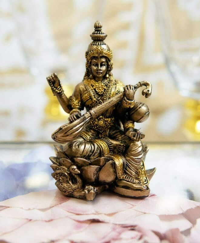 Ebros Vastu Hindu Goddess Saraswati Seated On Lotus Playing Veena Guitar Statue