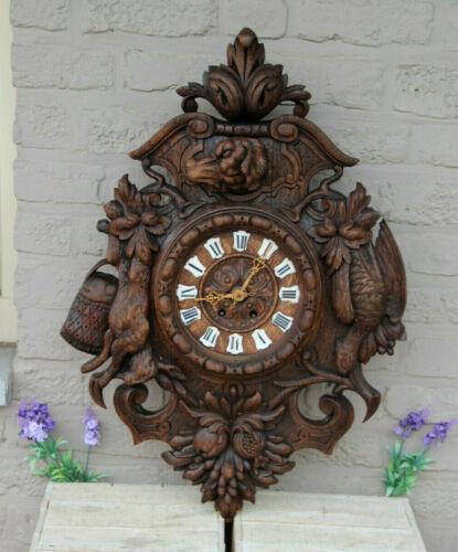 Antique Black forest wood carved hunting trophy wall clock dog birds rabbit
