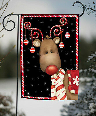 Toland Candy Cane Reindeer 12.5 x 18 Festive Christmas Winter Garden Flag