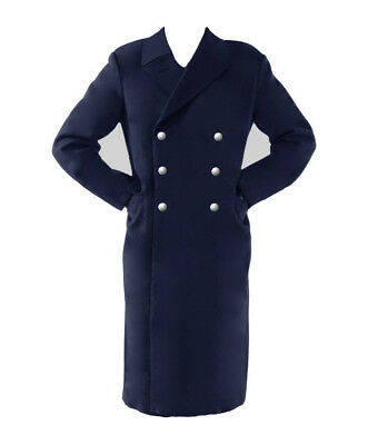 Long German Luftwaffe Air Force Navy Blue Trench Coat Military Greatcoat NEW
