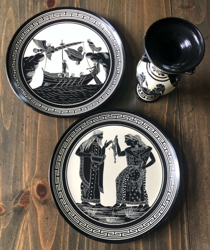 Handmade Set Two Plates and Vase Made in Greece Pottery Black White Gods Sirens