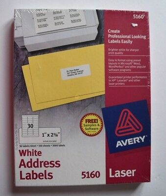 Avery 5160 Easy Peel Address Labels Laser Printers 1 X 2-58 Box Of 3000