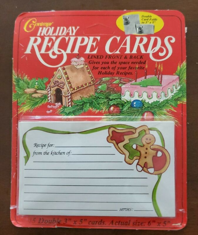 Vintage Conimar Holiday Recipe Cards, double sided, GINGERBREAD COOKIES, NIP