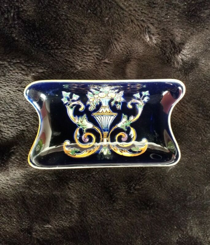 """Gien French Faience Hand-Painted Tray - 4.50"""" x 3"""" - Mint Vintage Condition"""