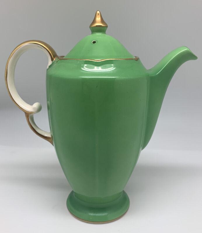 """Vintage Art Deco Crown Devon """"Beverly"""" Green Ceramic Coffee Pot"""
