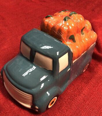 """Blue Farm Truck w/Pumpkins Cookie Jar Fall Cermic Farm Truck 9"""" x 6"""""""
