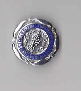 Vtg-enamel-silver-GENERAL-NURSING-COUNCIL-ENGLAND-WALES-pin-badge