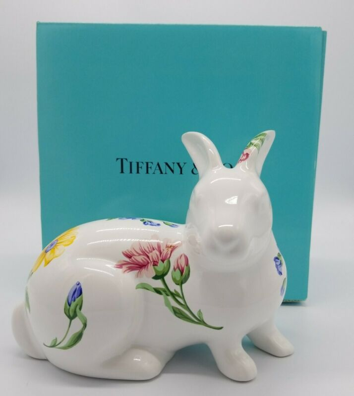 Tiffany & Co Ceramic Easter Bunny Rabbit Flower Desing Sintra Portugal Made 1996
