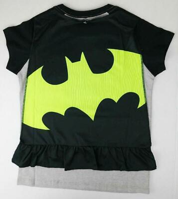 BATMAN GIRLS MEDIUM shirt TOP NWT With Cape Glitter grey/black/yellow Halloween