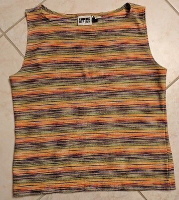 Chicos Design Poly Blend Horizontal Multi Color Striped Tank Top Chico 2 (Lg 12)