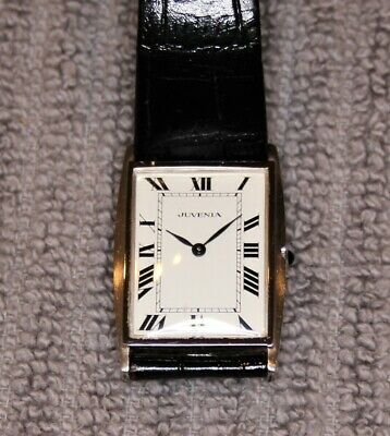 VINTAGE JUVENIA MENS DRESS TANK WATCH SWISS MADE VERY THIN CASE-STAINLESS STEEL
