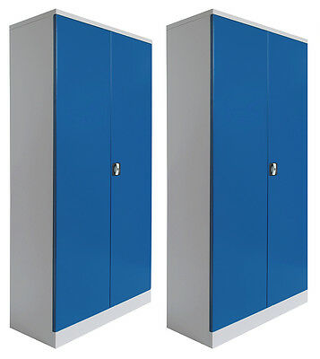 2 x Büroschränke Metallschränke Flügeltürschrank Blechschrank Metallschrank BLAU
