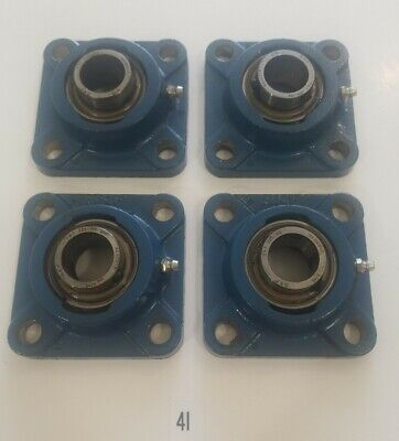 Preowned Lot Of 4 Skf Yat 205-100 Bearings With Skf 4 Hole Bearing Blocks