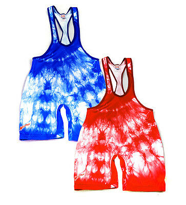 Authentic Brute Low Cut Wildman Tie-Dye Lycra Wrestling Singlet NEW Sublimated