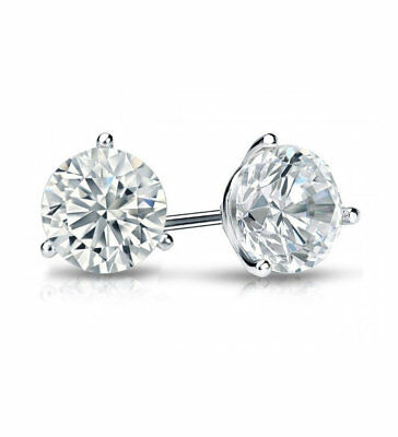 2ct (6.5mm) 18K White Gold VS/FG GENUINE Round Moissanite Diamond Stud Earrings