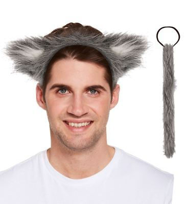 Adult Wolf Headband and Tale Set Unisex Halloween Party Dress Supplies Accessory