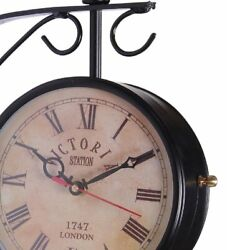 Clock Double Sided Antique Victoria Station 1747 London Black 10 Inch Clock
