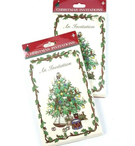 2 Packs of 8 each 16 Total Vintage Christmas Tree Party Invitations w Envelopes