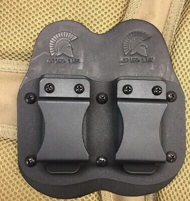 IWB Double Magazine Carrier for Glock 43 43x Black Kydex And Leather (Blk Leather Carrier)