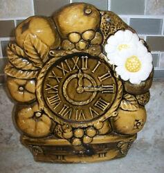 Vintage Tilso Kitchen Clock Wall Pocket Planter w Fruit Gold Japan