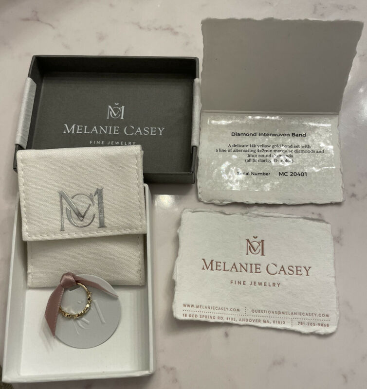 Melanie Casey 14k Yellow Gold Diamond Interwoven Band Ring