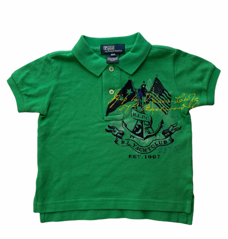Polo Ralph Lauren Boys Sz 12M Polo Shirt Knit Collared Top Green NEW with Tags