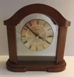 "BULOVA Wooden Mantle, Desk, Tabletop Clock.  7.5"""