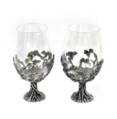 Pair Of Grapevine Solid Pewter Wine Glass Holders & Glasses In Presentation Bo
