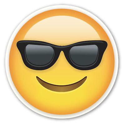 Gerahmt Emoji Druck - Lächelnde mit Sonnenbrille Gesicht (Bild Plakat Emoticons