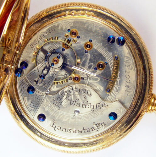 HAMILTON 933 16J 18S RARE LOW SERIAL #1095 FIRST YEAR PRODUCTION POCKET WATCH