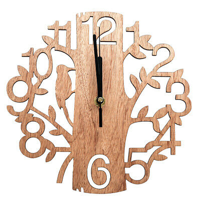 22cm Holz Wanduhr Analog Küchenuhr Baum Vögel Natur Vintage Uhr Wohzimmeruhr (Uhr Vintage Wand)