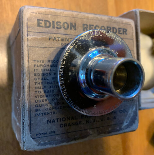 Edison Cylinder Record Phonograph Recorder with Original Box (has 2 min. cutter)