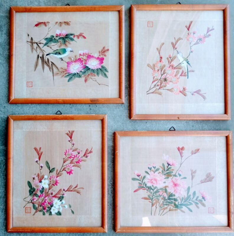 SET OF 4 VINTAGE JAPANESE WATERCOLOURS ON SILK FRAMED AND STAMPED BIRDS FLOWERS