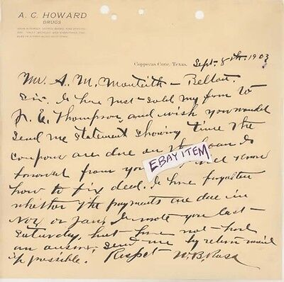 1903 Copperas Cove Texas A C Howard Drugs W B Ross Drug Store Letterhead Signed