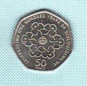 GB 2010 50p 50 Pence 100th Anniversary of Girl Guides Girlguiding. Coin Hunt
